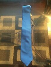 New Authentic Burberry Solid Light Blue Knight Logo Men Tie $245