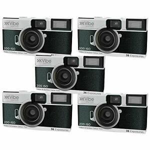 VIBE Single Use 36 Exposure Camera - 5 Pack,White,VE-36DC-RT-5PK