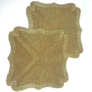 """Gold Glass Beaded Placemat Charger Centerpiece 15"""" set of 2"""