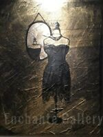 """Valentines for her  little black dress  original painting on 28""""x 22""""canvas"""