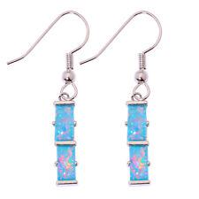 """Gemstone Dangle Earrings 1 5/8"""" Oh4256 Rainbow Fire Opal Silver Women Jewelry"""