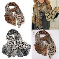 2IN1 Long Wrap Sca Ladies Leopard Print Soft Chiffon Shawl Scarf Stole New S7Q1