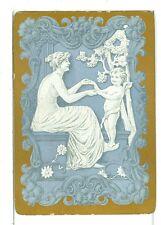 """Single Vintage Old Wide Playing Card """"Grecian Lady w/Cherub"""" Blue w/Gold Border"""