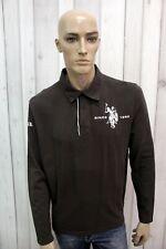 US POLO ASSN Polo Uomo Taglia 2XL T-shirt Maglietta Casual Maglia Manica Lunga