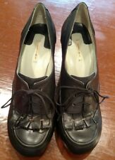 """Black Leather Lace Up Max Studio 3"""" Heels Size 6.5"""