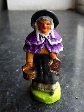 Santon en terre cuite peint Fouque - Dame chaufferette 6 cm