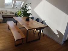 Massivholzplatte 45mm Eiche geölt natur Tischplatte mit Baumkante Maßanfertigung