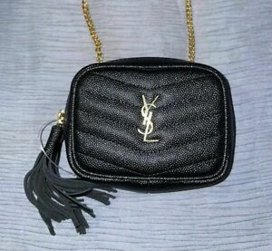 Yves Saint Laurent YSL Quilted Leather Micro Mini Lou Camera Chain Bag Black