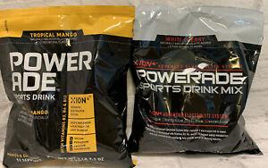 Powerade Drink Mix Powder Bag Makes 5 Gallons ion4 Tropical Mango White Cherry