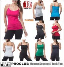 WOMENS Tank Tops Spaghetti Strap Sleeveless Shirts PROCLUB Cami Undershirt S-3XL