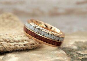 Rose Gold w/ Deer Antler & Wood Tungsten Mens Wedding Band | Engraving Optional