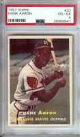 Hank Aaron 1957 Topps Vintage Baseball Card Graded PSA VG-EX 4 Braves #20