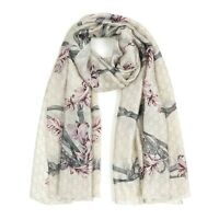 Women Fashion Scarves Soft Silk Ladies Scarves Off-white Floral Scarf for Girls