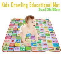 200 x 180cm 2 Side Kids Crawling Educational Game Baby Play Mat Soft Foam
