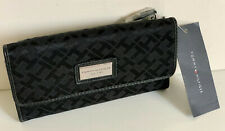 NEW! TOMMY HILFIGER BLACK CONTINENTAL CHECKBOOK CLUTCH PURSE WALLET SALE