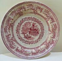 Antique English Staffordshire Red transferware Platte English Cottage River 2#F