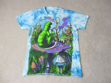 Alice In Wonderland Shirt Adult Small Blue Green All Over Print Movie Mens