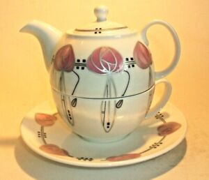 CHARLES RENNIE MACKINTOSH ONE PERSON TEAPOT W/ MATCHING CUP- UNUSED AND LOVELY.