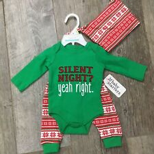Baby Starters Silent Night Bodysuit, Hat, Leggings, Green & Red Size 3 Mos Nwt