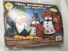 New Sealed WHAT'S NEW PENGUIN FAMILY FELT FOLKS CHRISTMAS  KIT ALL STUFFED UP