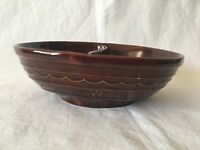 Marcrest Stoneware Daisy & Dot Brown Divided Vegetable Bowl 54 oz. Ovenware