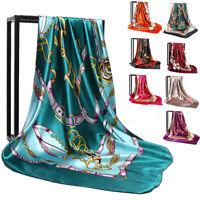 "Square Womens Scarf Pattern Print 90CM*90CM Silk Satin 35"" Fashion Multi-Colors"