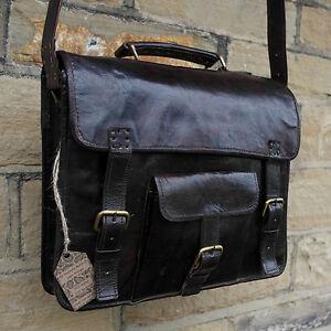 "13"" Real Leather Brown Handmade Vintage School Satchel Cross Body Messenger Bag"