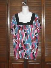 Susan Lawrence WOMAN Silky Stretch Knit Top size 2X Multi Color NWT