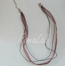2 Collane composte da 1 nastro di organza e 2 fili di cotone cerato marrone
