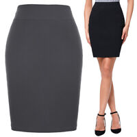 Katekasin Women's High Stretchy Hips-wrapped Pencil Skirt Mini Bodycon Office