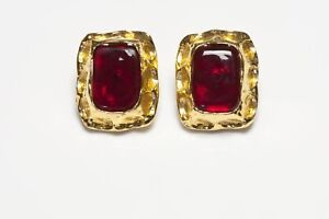 CHANEL Paris 1990's Maison Gripoix Gold Plated Red Glass Earrings
