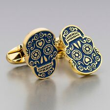 PAUL SMITH Cufflinks Day of the Dead Blue enameled Gold color Men's jewelry