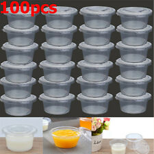 100 x Clear 150ml Plastic Sauce Disposable Small Storage Container with Lid
