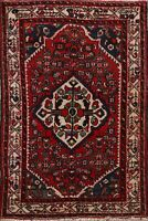 3x5 Vintage RED Geometric Traditional Area Rug Wool Hand-Knotted Oriental Carpet