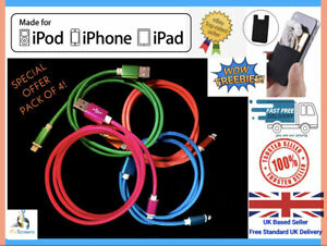 USB Cable For iPhone 11 Pro X XR XS 8 7 6 6s 5 Heavy Duty Charger Colourful Lead