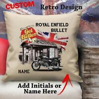 Personalised Royal Enfield Bullet Motorbike Cushion Cover Gift Him Dad Grandad
