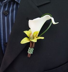 Pick Ribbon Color*Real Touch Calla lily Orchid Boutonniere-Wedding quinceanera
