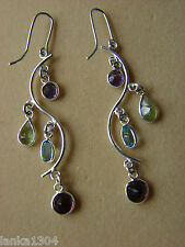 Sterling Silver Multicoloured Blue Topaz amethyst garnet dangle Earrings (NEW)