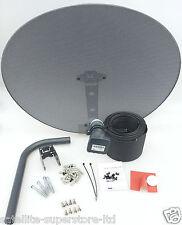 Freesat / Sky 80cm Zone 2 Satellite Dish & Quad LNB 10m Twin Black Install Kit