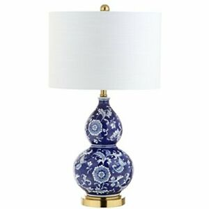 """JONATHAN Y JYL3003A Lee 27"""" Ceramic Chinoiserie LED Table Lamp Blue/White Tra..."""