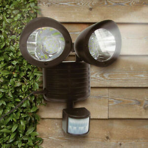 Solar Powered Dual Head LED Security Light Motion Sensor Outdoor Lamp Waterproof