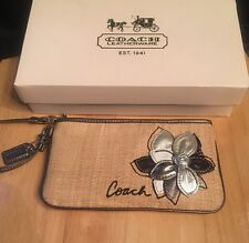 Coach Pewter Silver Embossed Jewel Wristlet Floral Metallic Straw RARE EUC