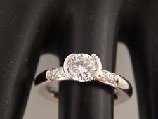 .92 tcw GIA Certified Half Bezel Round Diamond Engagement Ring Platinum I/SI2