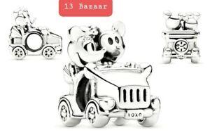 Genuine S925 Pandora Mickey & Minnie Vintage Car Charm + Pouch S925 ALE 797174