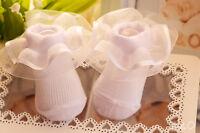 Baby Socken 0-0 50 / 56 Söckchen Spitzensocken Strümpfe Rüschen Weiß Taufe Socks