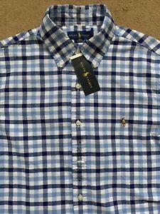 Ralph Lauren Men's Slim Fit Long Sleeve Blue Twill Shirt, Medium, RRP£109
