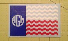 Texas Flag Chevron With Monogram Decal For Your Yeti Rambler Tumbler