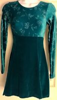 GK ICE FIGURE SKATE ADULT SMALL GREEN VELVET LgS EMPIRE POPPY PRINT DRESS AS