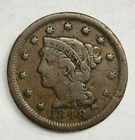 1848 Braided Hair Large Cent 1¢ Fine