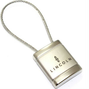 Lincoln Logo Metal Silver Chrome Cable Car Key Chain Ring Fob